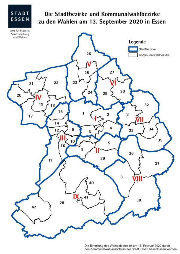 Stadtbezirke und Kommunalwahlbezirke der STADT ESSEN